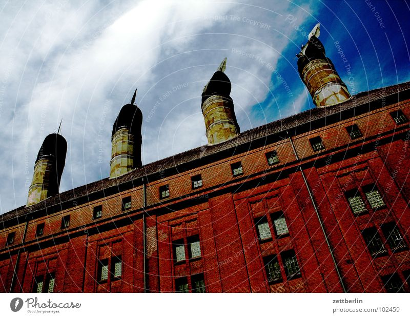The four seasons Factory Brewery Roof Worm's-eye view 4 Outlet air Ventilation Chimney Industry Detail Berlin malting. Row porch
