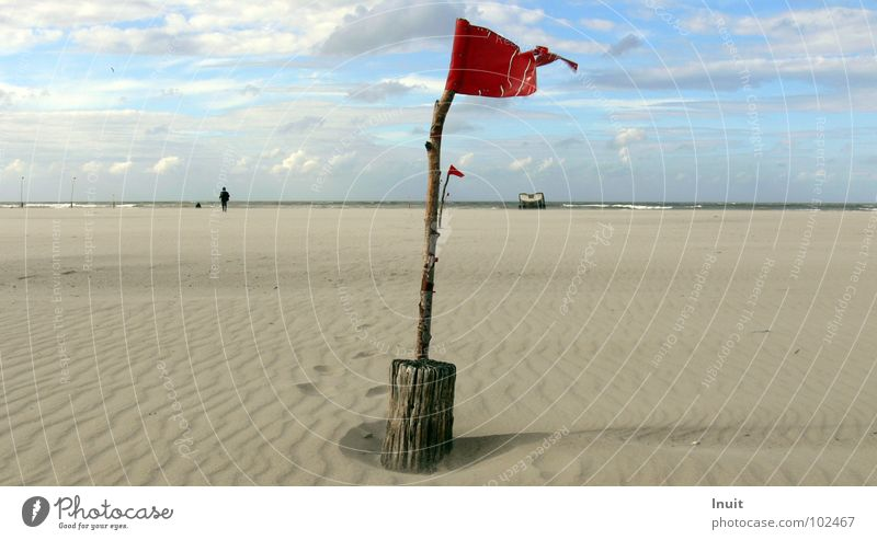 banner Flag Red Beach Ocean Horizon Remark Norderney Loneliness Infinity Clouds Gale Coast Sand Sky Road marking Signage North Sea Island Wind
