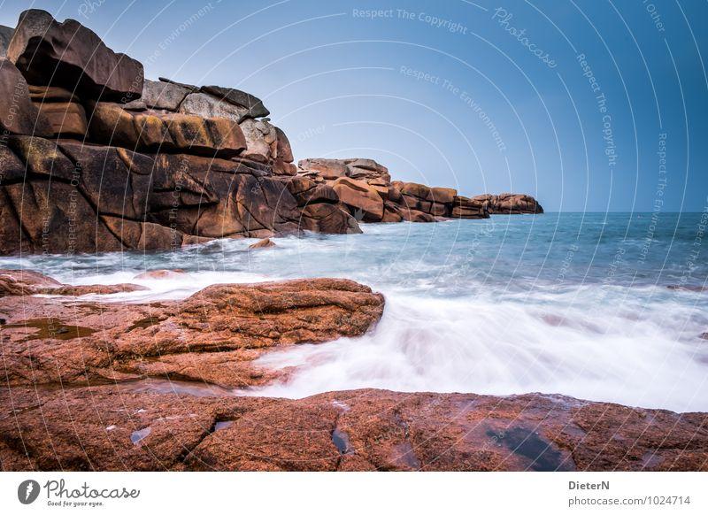 Sky Nature Blue White Ocean Landscape Environment Coast Stone Brown Rock Horizon Pink Waves Cloudless sky France