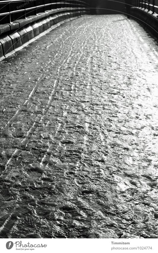 Uffbasse! Feminine 1 Human being Environment Winter Ice Frost Lanes & trails Bridge Footprint Line Going Esthetic Dark Glittering Gray Black White Emotions
