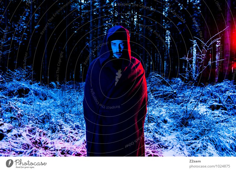 Dark Night Masculine Young man Youth (Young adults) 30 - 45 years Adults Nature Landscape Winter Bushes Forest Coat Creepy Cold Rebellious Blue Red Dream Anger