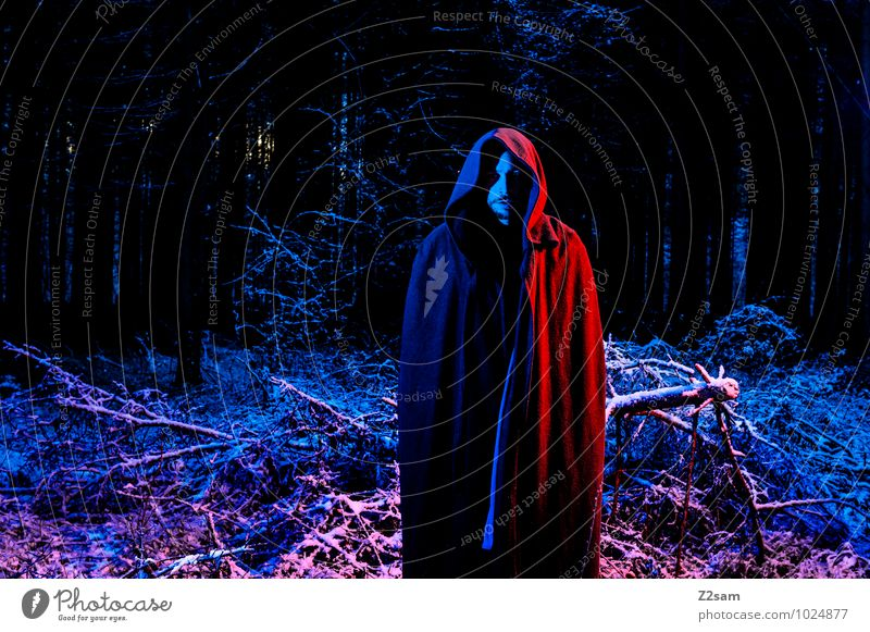 so dark the night Masculine Young man Youth (Young adults) 18 - 30 years Adults Coat Monk's habit Hooded (clothing) Stand Threat Dark Creepy Cold Blue Red