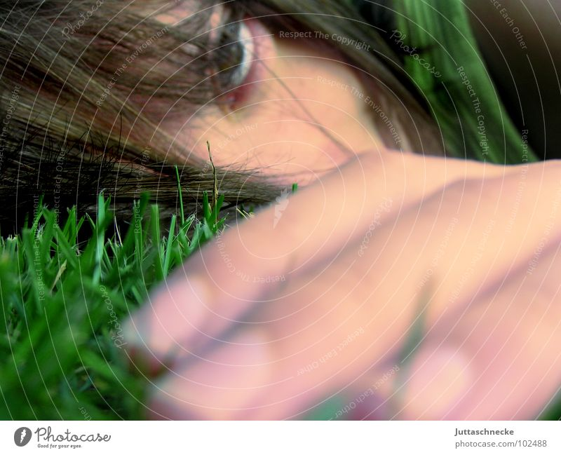 Back to nature Grass Green Blur Hand Fingers Close-up Youth (Young adults) Lie Distress Feeble Woman Face Eyes Hair and hairstyles Face of a woman Women's eyes