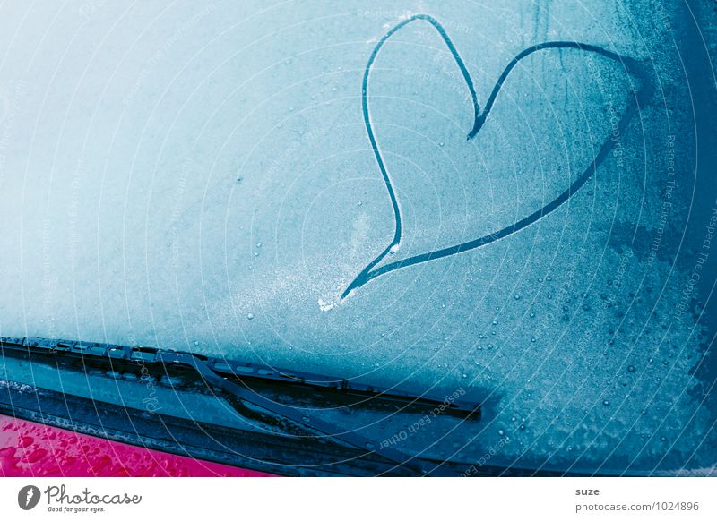 Blue Beautiful Loneliness Winter Cold Emotions Love Car Window Moody Lifestyle Ice Heart Simple Cool (slang) Sign