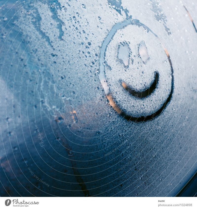Blue Joy Winter Cold Environment Car Window Happy Laughter Rain Weather Car Transport Happiness Drops of water Climate Wet