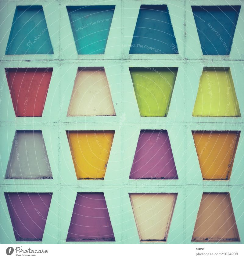 Colourful Trapezoid Style Design Decoration Art Culture Building Architecture Wall (barrier) Wall (building) Facade Sign Exceptional Sharp-edged Simple