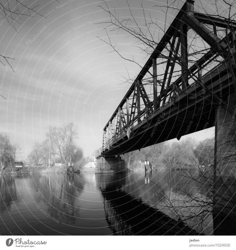bridge over calm water. Design Technology Water Sunlight Beautiful weather Manmade structures Transport Train travel Lanes & trails Bridge Rail transport