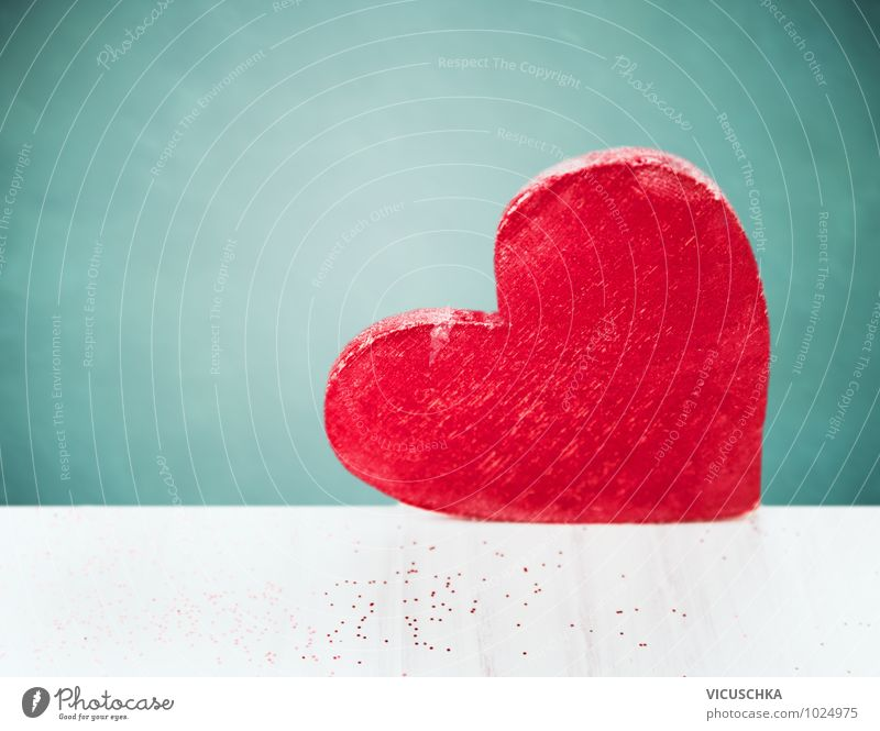 Blue White Red Wall (building) Emotions Love Style Wall (barrier) Wood Background picture Feasts & Celebrations Design Decoration Birthday Large Heart