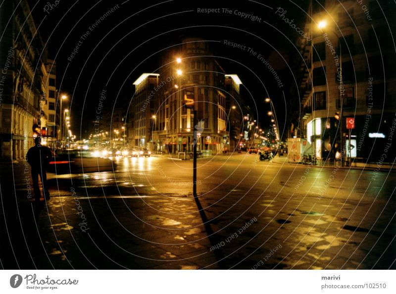 Direction Placa Catalunya Barcelona Spain Southern Europe Night Light Warm light Street lighting Traffic light Grief Middle Traffic infrastructure Distress
