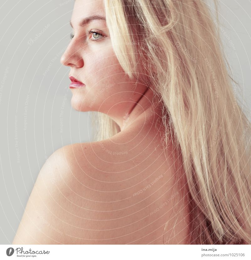 Profile shot of blonde long haired young woman with light eyes Human being Feminine Young woman Youth (Young adults) Woman Adults Skin Face Shoulder