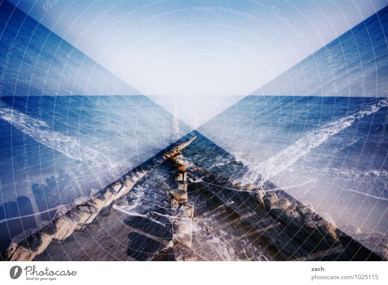 Fifty Shades of Blue Far-off places Summer vacation Beach Ocean Waves Sky Coast Baltic Sea Water Line Maritime Dream Slide Double exposure Scan Analog