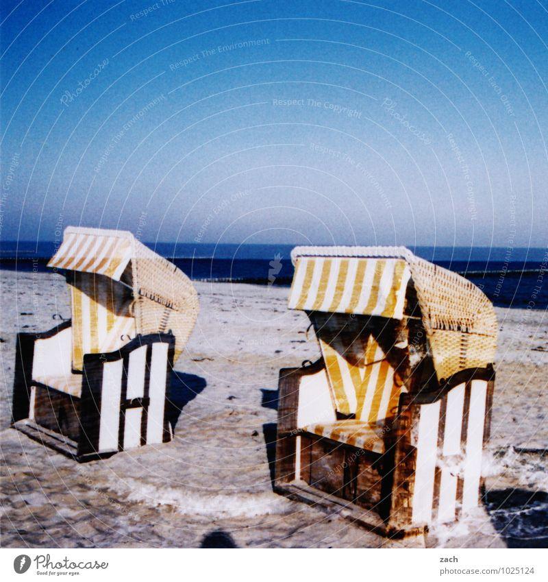 Vacation & Travel Blue Summer Water Ocean Landscape Beach Winter Coast Swimming & Bathing Sand Horizon Sit Beautiful weather Baltic Sea Cloudless sky
