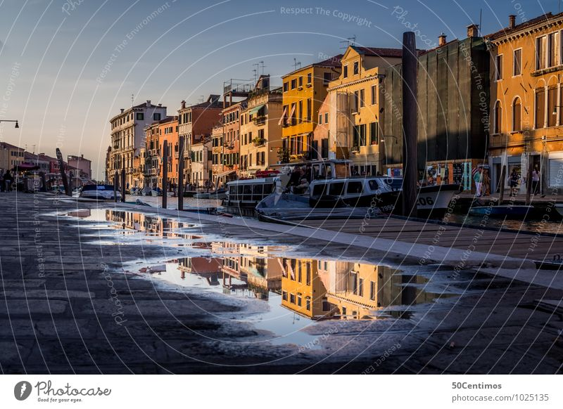 Reflections in the streets of Venice Vacation & Travel Tourism Trip Sightseeing City trip Living or residing Sky Sunrise Sunset Beautiful weather Water puddle
