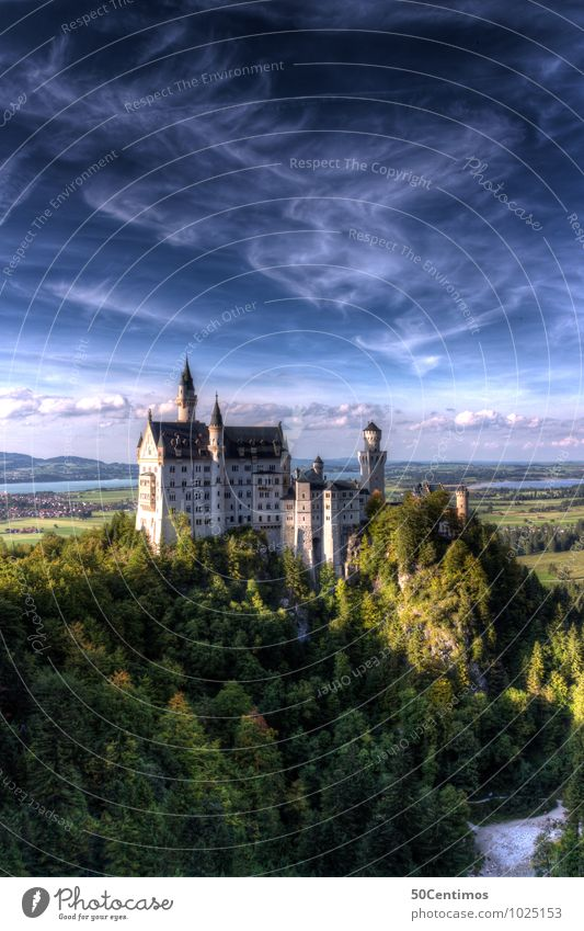Neuschwanstein Castle Vacation & Travel Tourism Trip City trip Summer vacation Mountain Nature Landscape Clouds Sunrise Sunset Spring Climate Beautiful weather