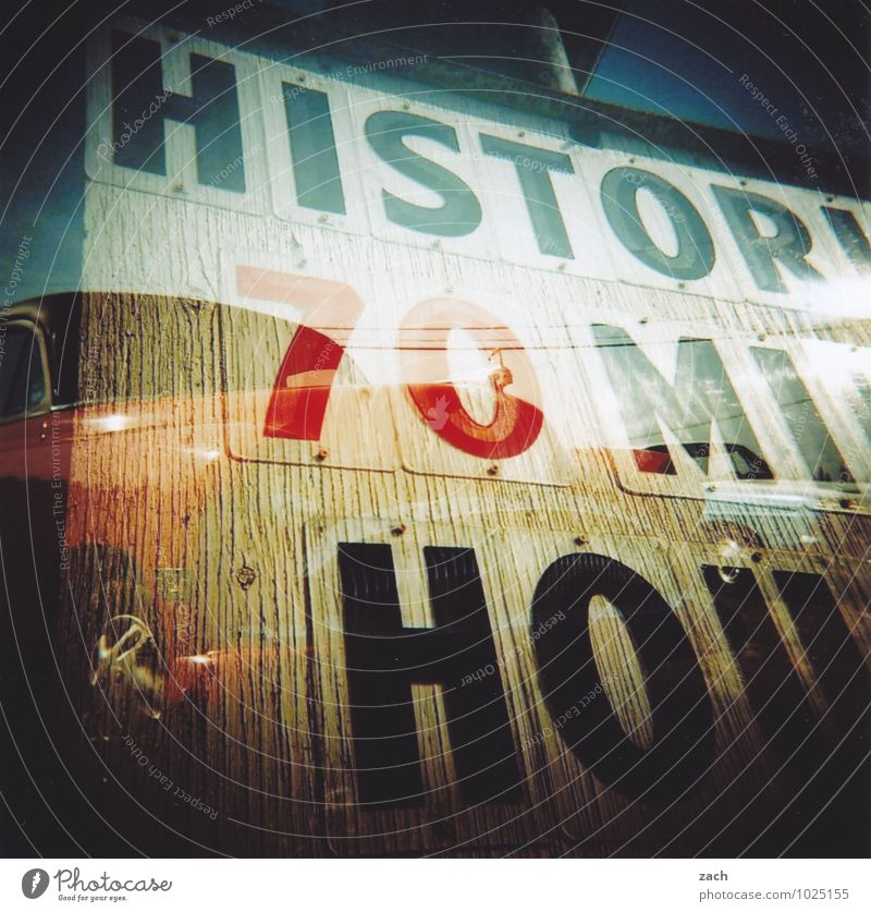 Old Blue Brown Car Signs and labeling Modern Characters Signage Transience Sign Historic Longing Past Wanderlust Tradition Vehicle