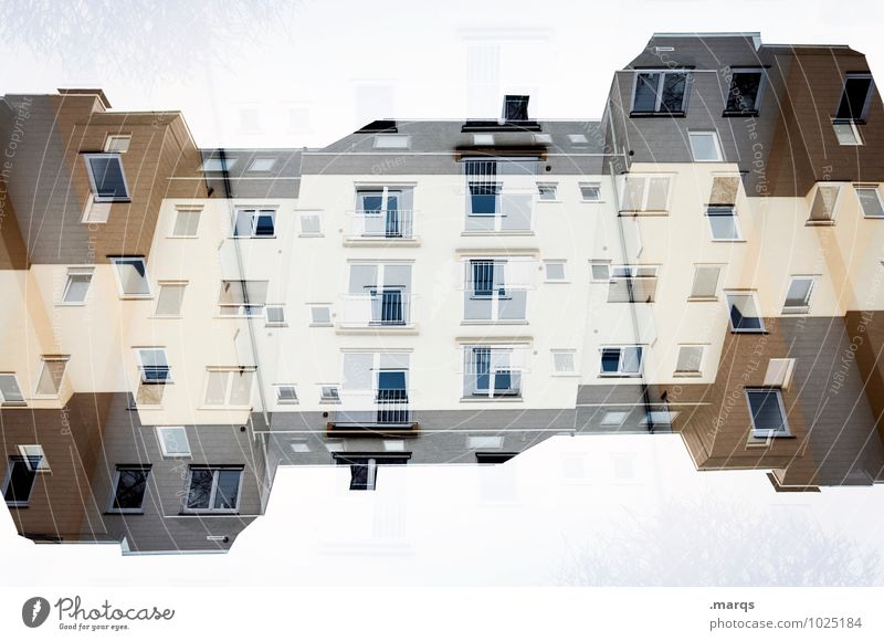 double house Living or residing House (Residential Structure) Facade Window Roof Exceptional Crazy Perspective Surrealism Symmetry Real estate market