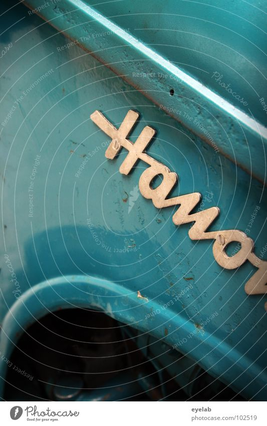 Hano... Typography Curlicue Logo Design Tractor Retro The fifties Sixties Turquoise Green Agriculture Vehicle Machinery Engines Hick Gear unit Car Hood Robust