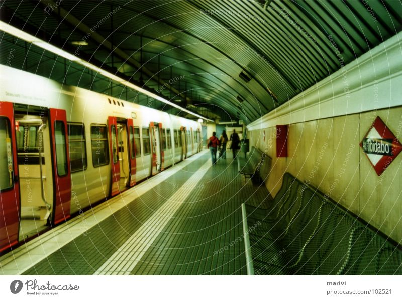 Metro station Tibidabo Underground Railroad Terminus Barcelona Spain Southern Europe Green Red Tunnel Train station underworld