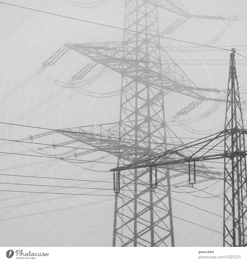 Sky City Winter Environment Energy industry Air Fog Perspective Technology Electricity Elements Industry Planning Network Irritation