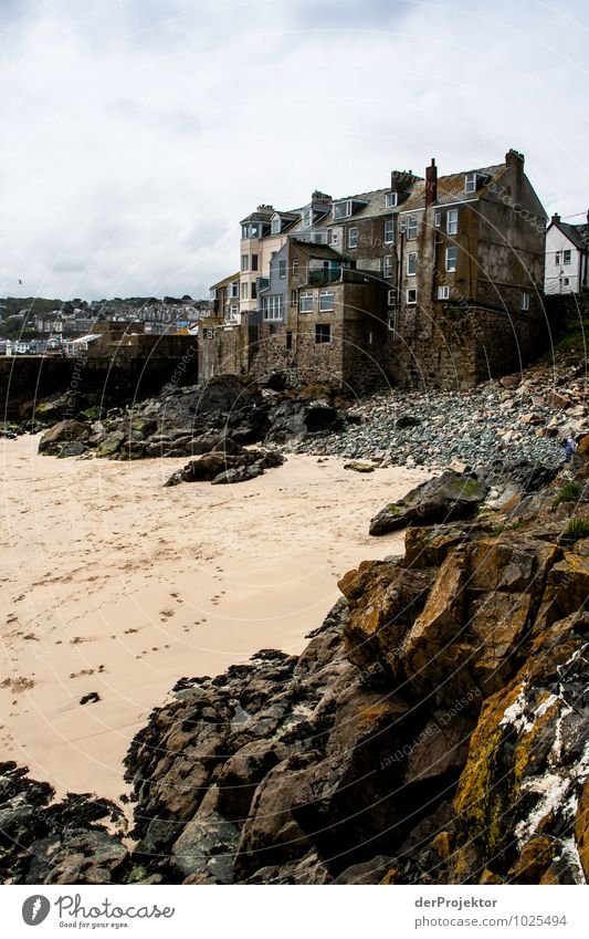 Houses near St. Ives Vacation & Travel Tourism Trip Sightseeing City trip Beach Environment Nature Landscape Plant Storm clouds Spring Bad weather Rock Coast