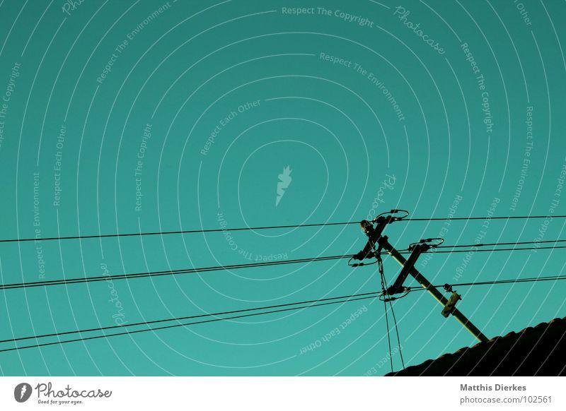 Sky Nature Blue Green Landscape Wood Power Waves Modern Dangerous Electricity Threat Telecommunications Roof Cable Tilt