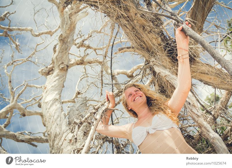 Pearl of plage III Feminine Young woman Youth (Young adults) Woman Adults 1 Human being 13 - 18 years Child Summer Tree Branch Twigs and branches Bikini Blonde