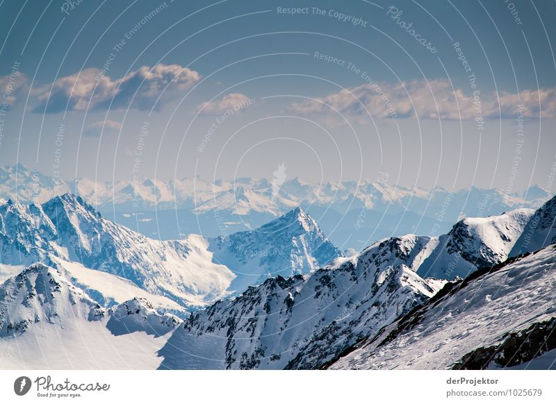 Mountains, mountains as far as the eye can see Adventure Far-off places Freedom Environment Nature Landscape Elements Winter Rock Alps Peak Snowcapped peak