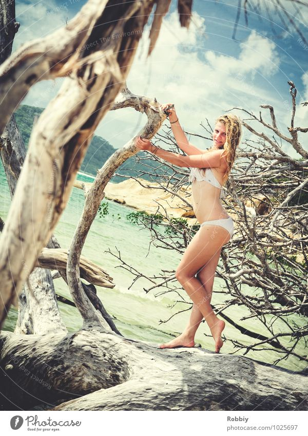 Human being Woman Child Nature Vacation & Travel Youth (Young adults) Beautiful Tree Young woman Relaxation Ocean Landscape Eroticism 18 - 30 years Beach Adults