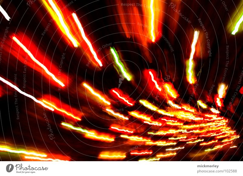 light sperm Light Giddy Stripe Red Yellow Night Exposure Long exposure Speed Perspective Lighting design Light art Artificial light Strip of light
