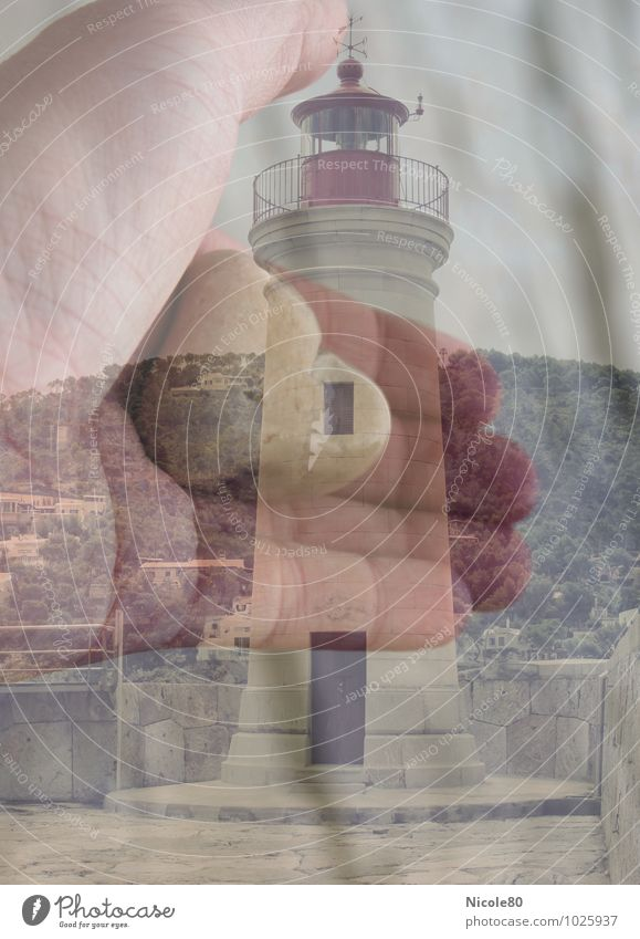 Heart. Hand.Lighthouse Trust Safety Protection Stone Hope Double exposure Majorca Port Andratx Harbour Colour photo Exterior shot Experimental
