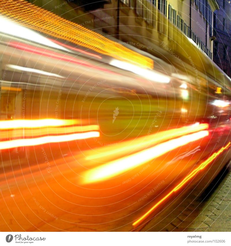 Sky Blue Red Yellow Street Colour Lamp Movement Lighting Orange Transport Italy Railroad tracks Bus Escape Dusk