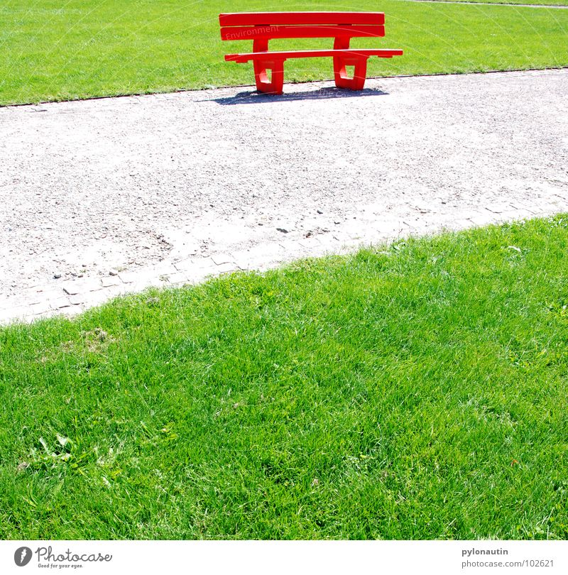 I sit in the green and see red Meadow Park Gravel Red Green Gray Summer To go for a walk Break Leisure and hobbies Sunday Bench Lanes & trails Lawn