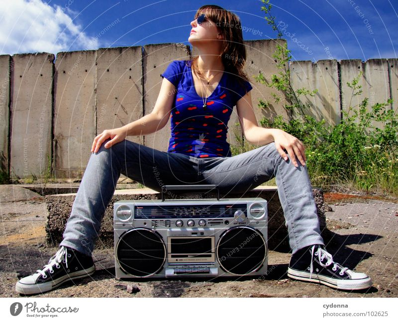 RADIOACTIVE XIV Woman Style Music Sunglasses Industrial site Concrete Ghetto blaster Action Whim Emotions Portrait photograph T-shirt Summer To enjoy Derelict