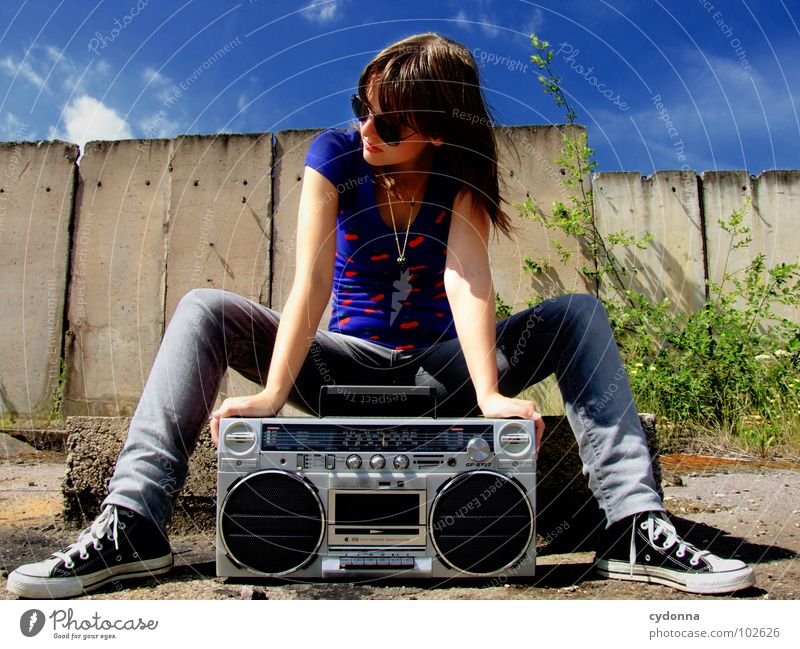 RADIO ACTIVE XV Woman Style Music Sunglasses Industrial site Concrete Ghetto blaster Action Whim Emotions Portrait photograph T-shirt Summer To enjoy Derelict