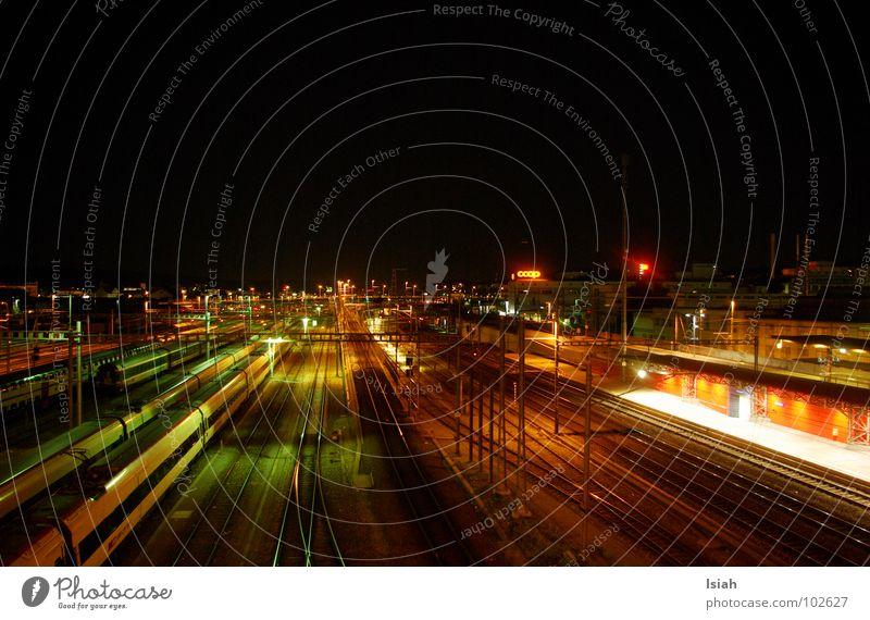 Vacation & Travel Dark Railroad Railroad tracks Train station Night Come Zurich Depart Hardbrücke