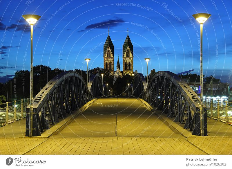 Wiwili Bridge Freiburg at the blue hour Architecture Canton Freiburg Baden-Wuerttemberg Germany Europe Town Downtown Church Manmade structures Landmark