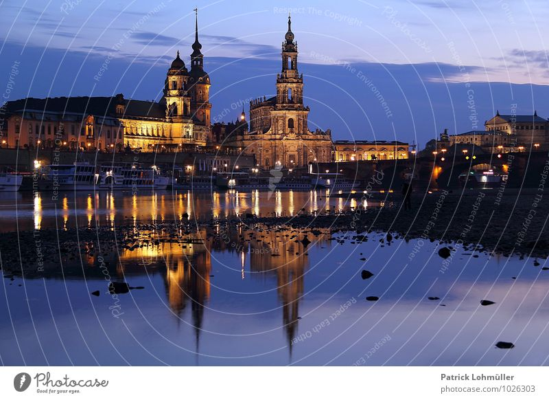 Dresden at the blue hour Architecture Environment Water River bank Saxony Germany Europe Capital city Downtown Church Manmade structures Tourist Attraction