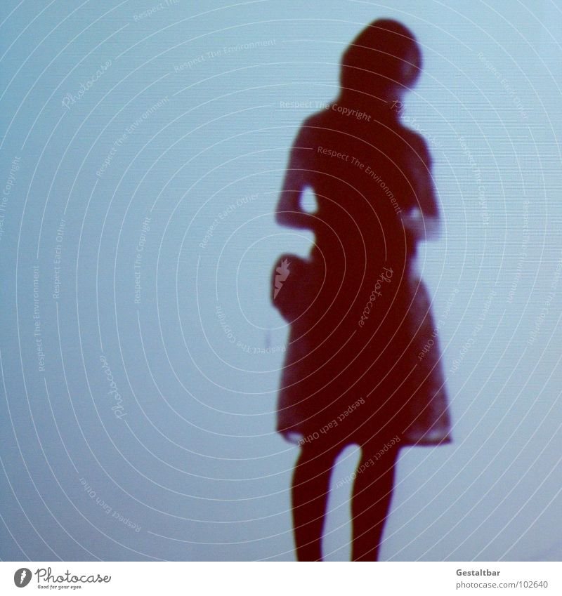 Shadow play 06 Woman Feminine Silhouette Free Mysterious Stand Withdrawn Think Bag Portrait photograph Vantage point Good mood Formulated Exhibition