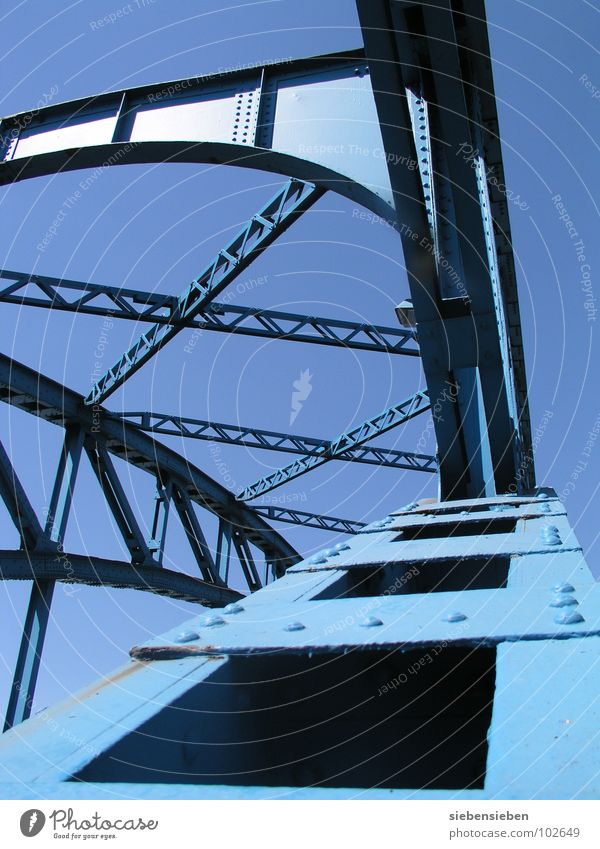 Sky Old Blue Metal Bridge Industry Driving Steel Traffic infrastructure Intersection Rivet Traverse Railroad crossing
