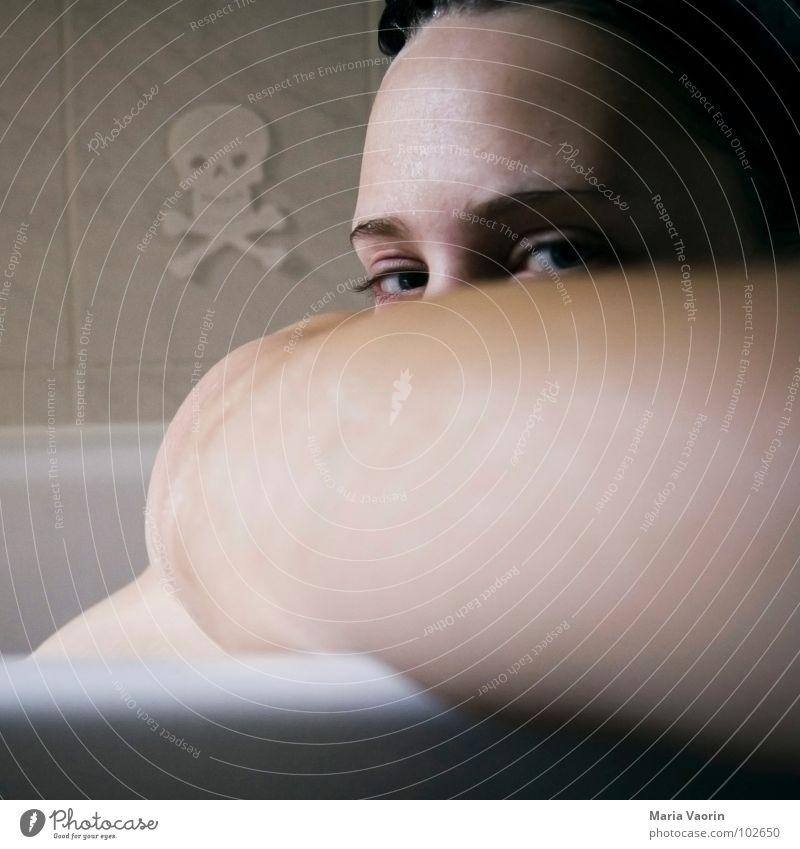 Woman Youth (Young adults) Water Face Eyes Think Arm Swimming & Bathing Bathroom Bathtub Shoulder Wash Freckles Self portrait Voyeurism Death's head