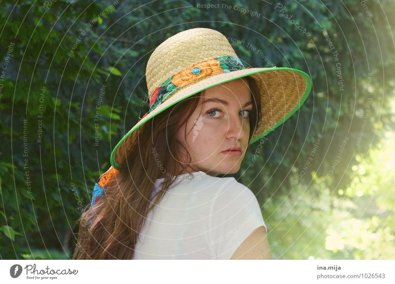 Human being Woman Child Nature Youth (Young adults) Summer Sun Young woman Landscape 18 - 30 years Forest Environment Adults Face Warmth Feminine