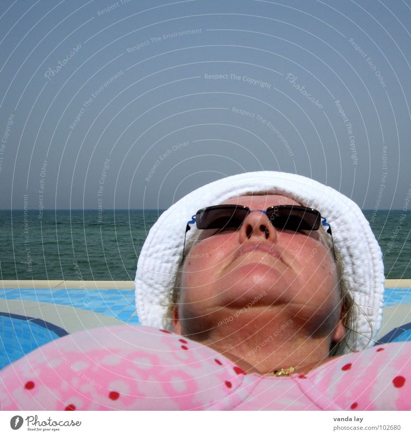 Human being Woman Sky Old Water Vacation & Travel Summer Ocean Beach Relaxation Face Senior citizen Coast Horizon Lie Skin
