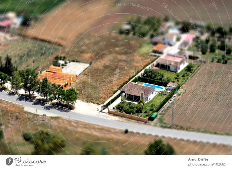 Mini landscape in Andalusia Tilt-Shift Small Miniature Bird's-eye view Andalucia Green Brown Tree House (Residential Structure) Village Field Summer Europe tilt