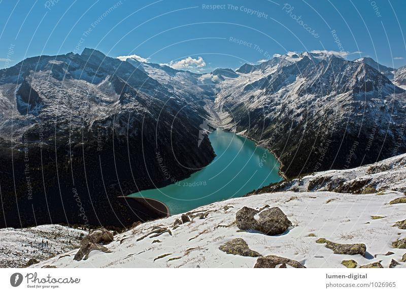 Blue White Water Clouds Winter Black Mountain Snow Stone Lake Rock Climate Alps Austria Valley Dramatic
