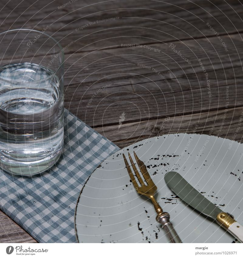 Fasting with water: an empty plate with knife and fork and a glass of water Food Nutrition Breakfast Lunch Dinner Picnic Diet Beverage Cold drink Drinking water