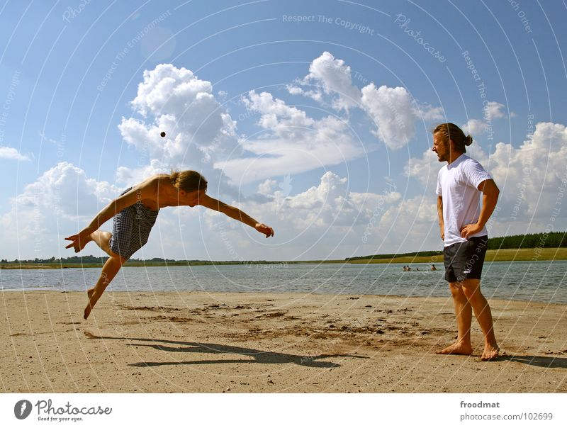 Youth (Young adults) Water Sky Blue Summer Joy Beach Clouds Playing Lake Warmth Germany Action Ball Physics East