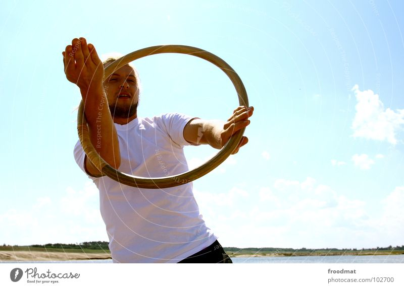 ring Beach Summer Clouds Lake Martial arts Practice Physics Anxious Concentrate Back-light Hot Facial hair Man Youth (Young adults) froodmat Sky Blue Circle