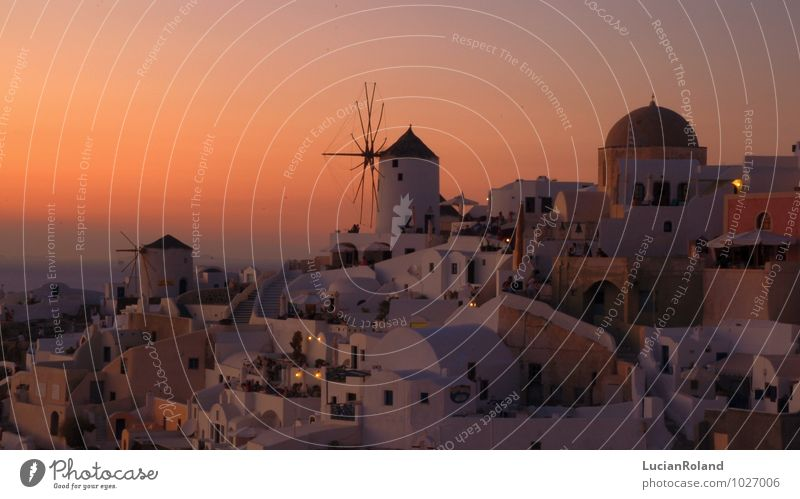 red sky behind the historical mill of Oia Relaxation Calm Vacation & Travel Historic Sky Cloudless sky Sunrise Sunset Sunlight Beautiful weather Santorini