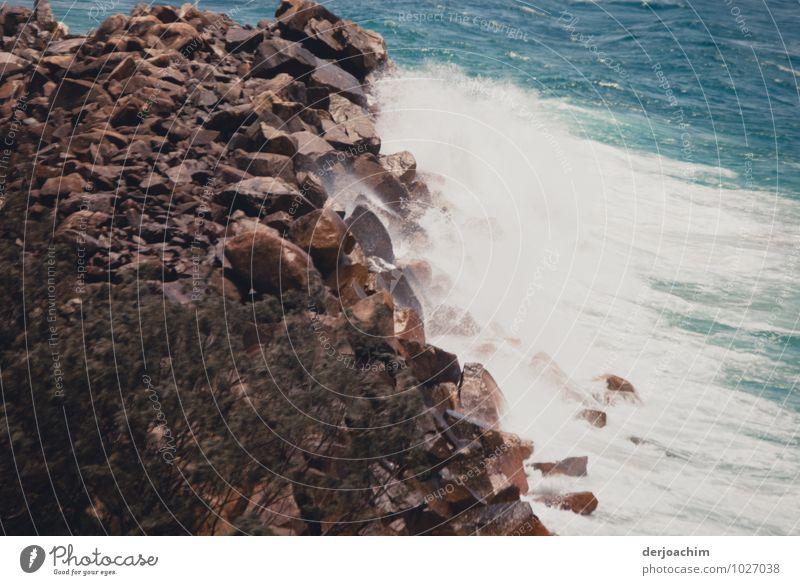 encounter, ocean meets stone wall .Queensland / Australia Joy Calm Leisure and hobbies Vacation & Travel Summer Environment Elements Beautiful weather Beach