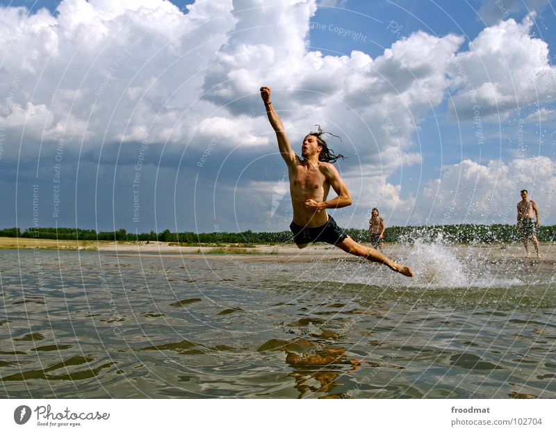 Water Sky Summer Joy Beach Clouds Jump Germany Flying Action Swimming & Bathing Inject
